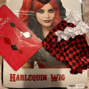 New! Harley Queen Wig, Gloves and earrings set